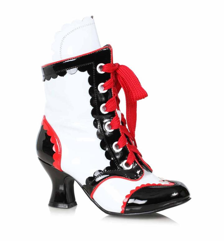 254-Bubbles, Women's Clown Shoes color White/Black by Ellie 1031