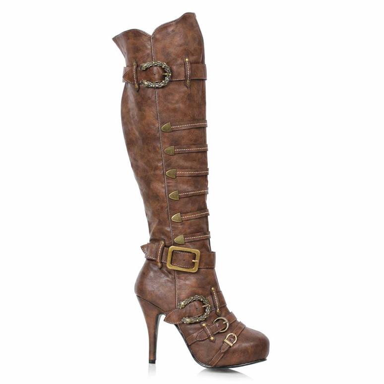 421-RUMI, Women's Pirate Brown Knee High Buckles Boots