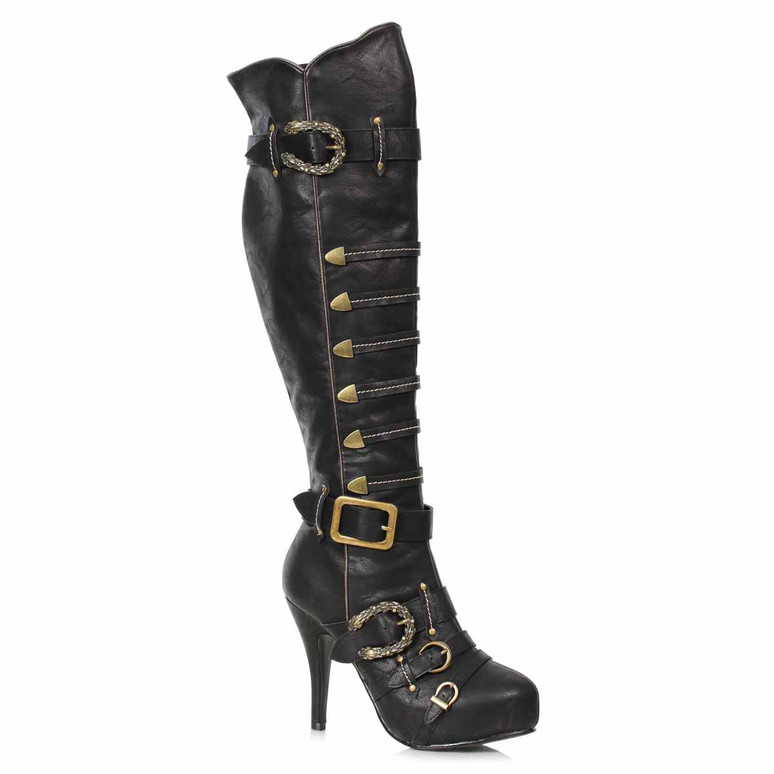 421-RUMI, Women's Pirate Black Knee High Buckles Boots