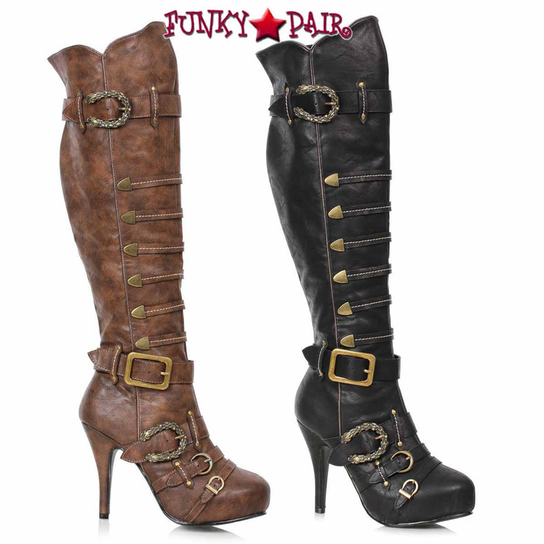 Ellie 1031 | 421-RUMI, Women's Pirate Knee High Buckles Boots