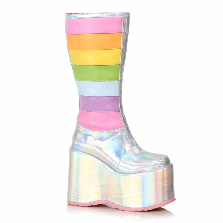 500-JADA, Silver Chunky Rainbow Boots by Ellie