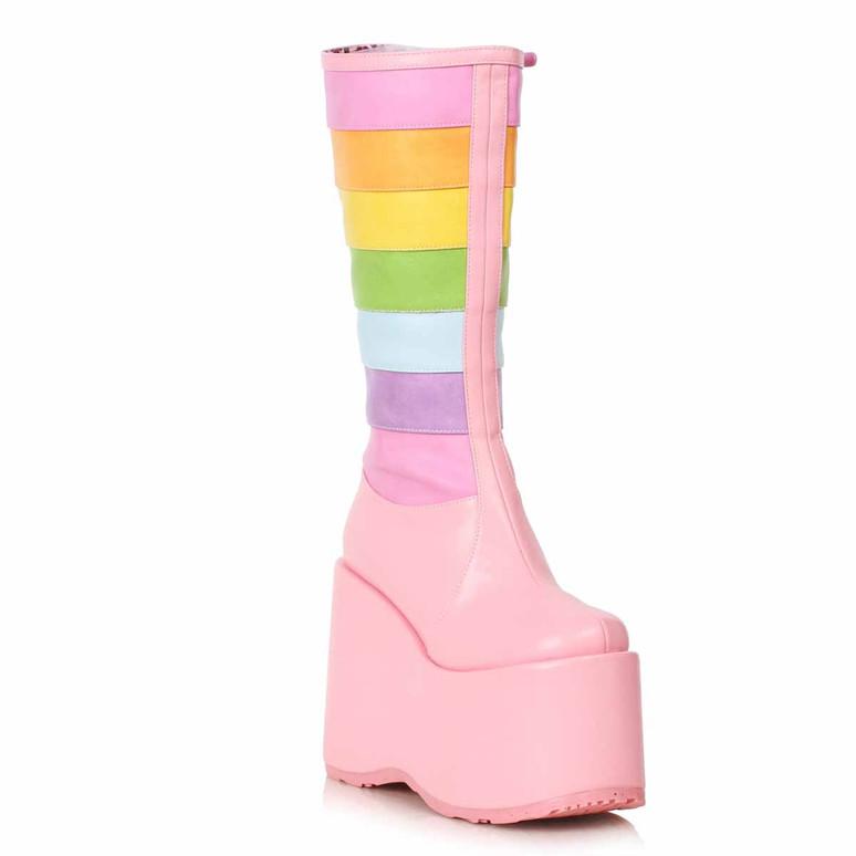 500-JADA, Chunky Rainbow Pink Boots by Ellie