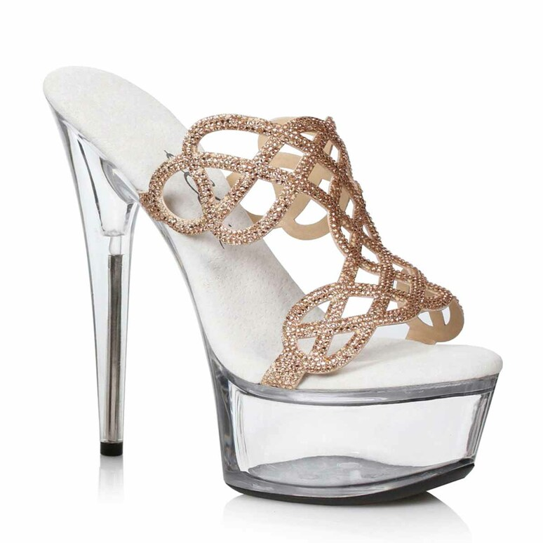 609-SABRINA, Gold Rhinestones Mule Sandal by Ellie Shoes