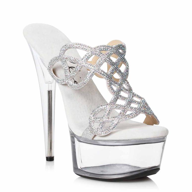 609-SABRINA, Silver Rhinestones Mule Sandal by Ellie Shoes