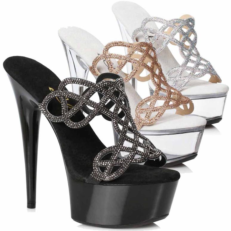 609-SABRINA, Rhinestones Mule Sandal by Ellie Shoes