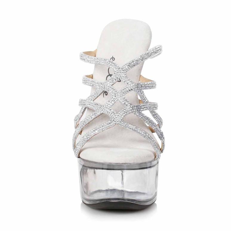 Ellie Shoes | 609-SELENA, Silver Strappy Rhinestones Sandal