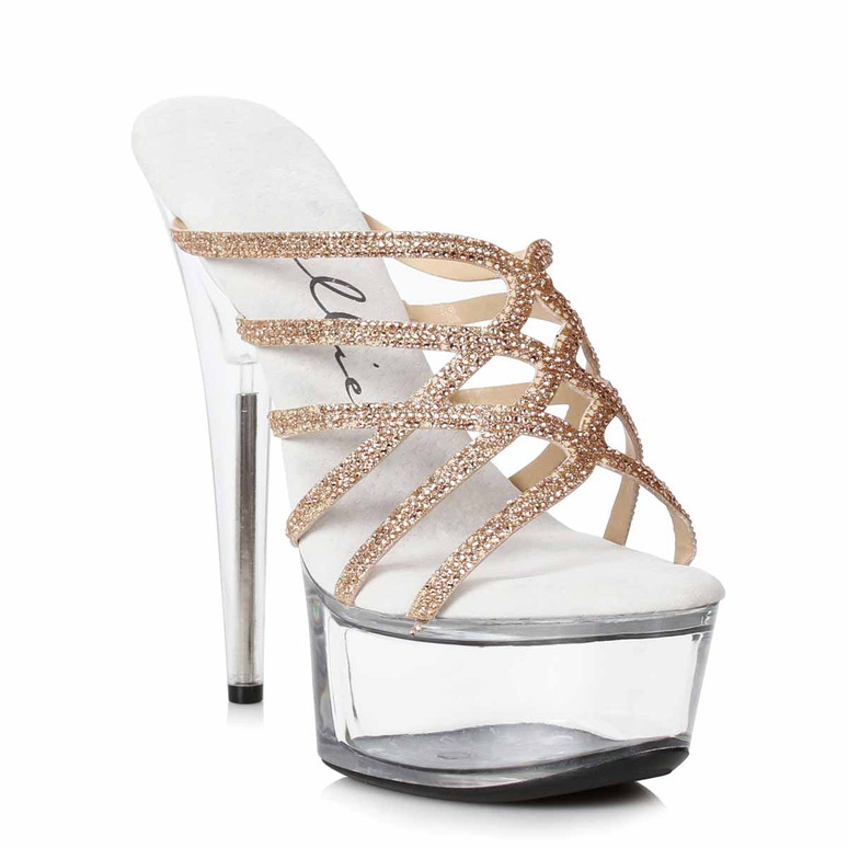 609-SELENA, Gold Strappy Rhinestones Sandal by Ellie Shoes