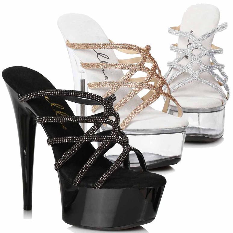 609-SELENA, Strappy Rhinestones Sandal by Ellie Shoes