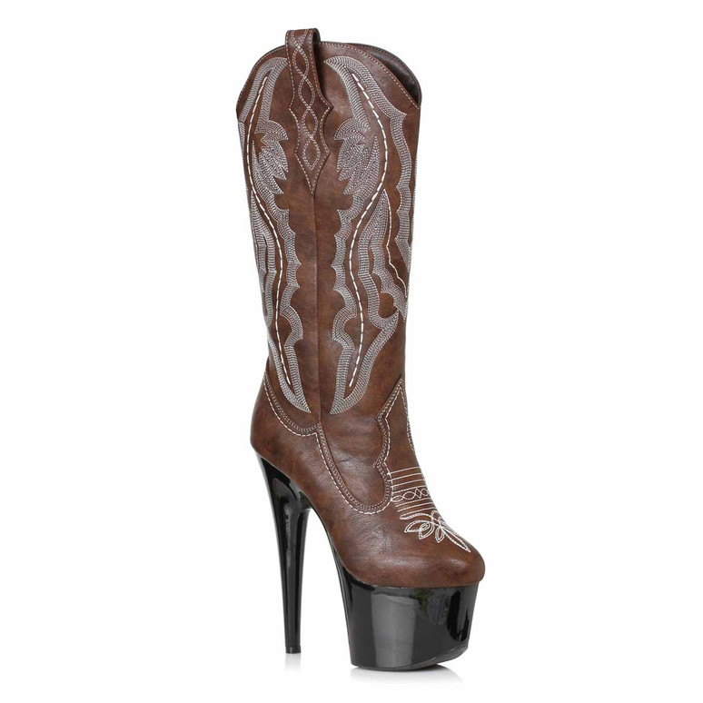 709-DALLAS, Stiletto Heel Brown Cowgirl Boots by Ellie Shoes