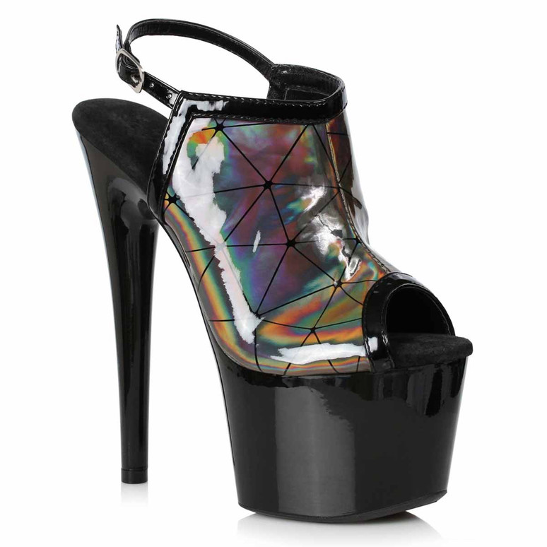 709-ZION, Pewter Holographic Sandal by Ellie Shoes
