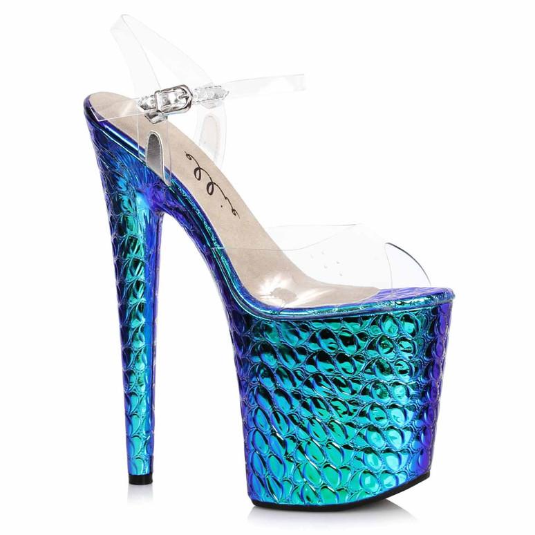 Ellie Shoes | 850-SUGAR, Turquoise Hologram Platform Sandal