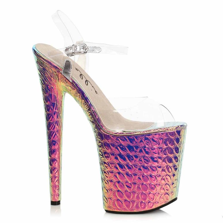 850-SUGAR, Pink Hologram Platform Sandal by Ellie Shoes