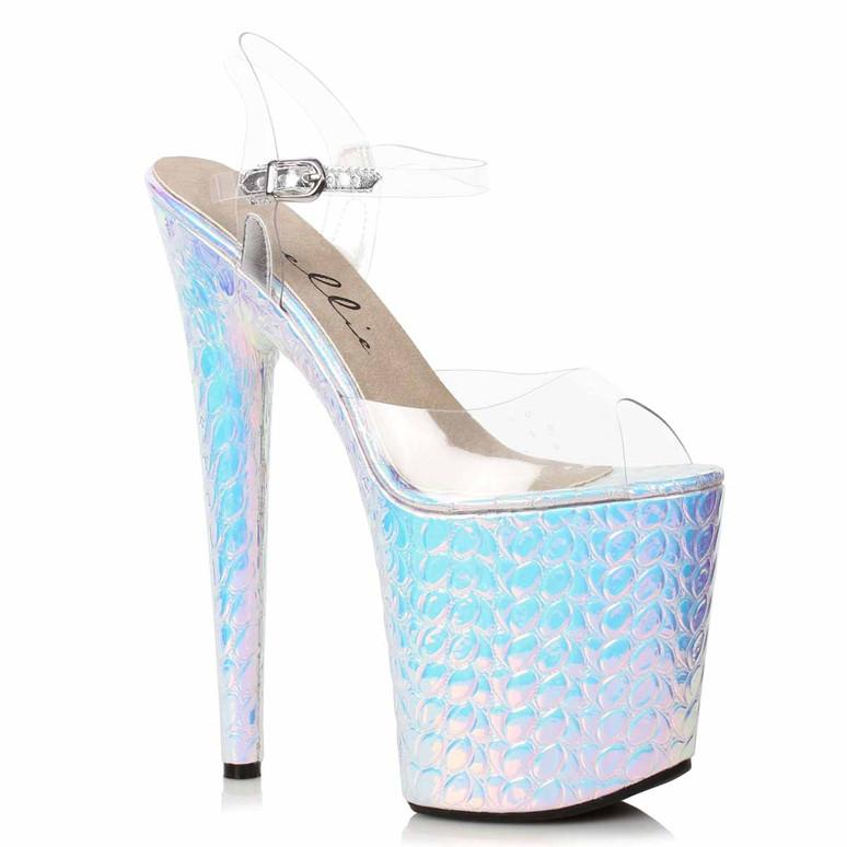 850-SUGAR, Silver Hologram Platform Sandal by Ellie Shoes