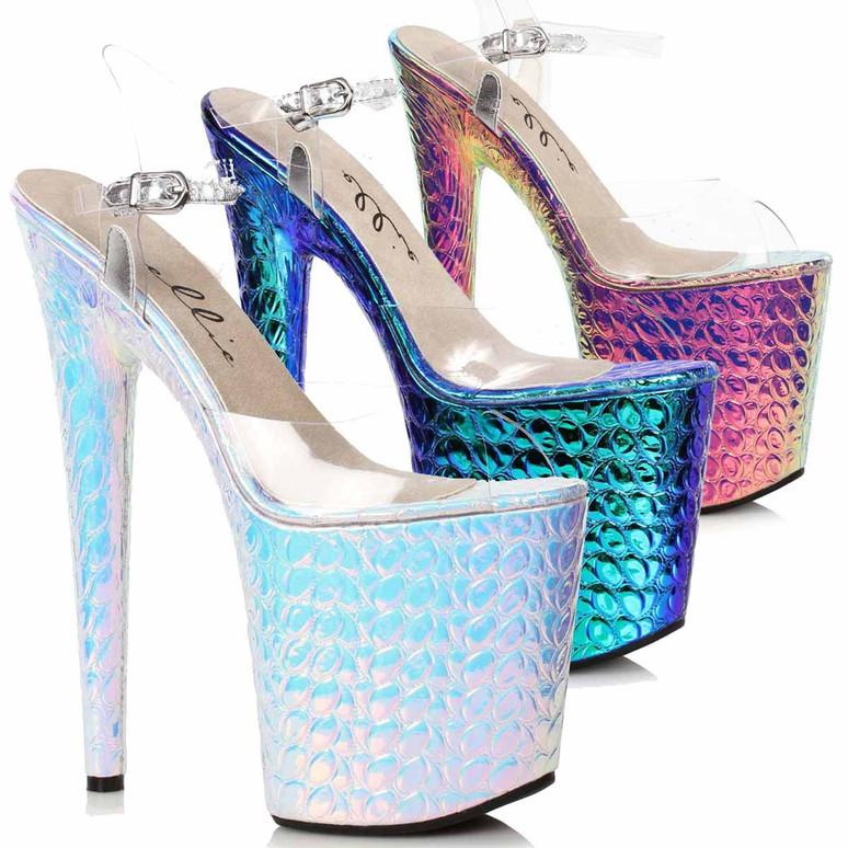 850-SUGAR, Hologram Platform Sandal by Ellie Shoes