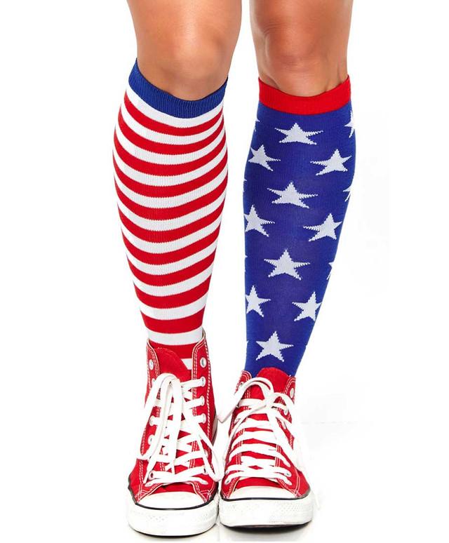 LA-5617, Star and Stripes Knee High Socks by Leg Avenue