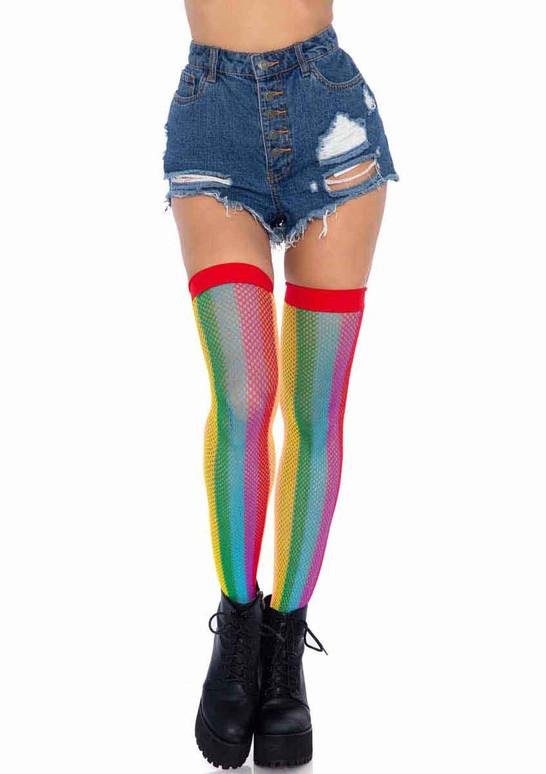 LA-9290, Rainbow Fishnet Thigh Highs by Leg Avenue