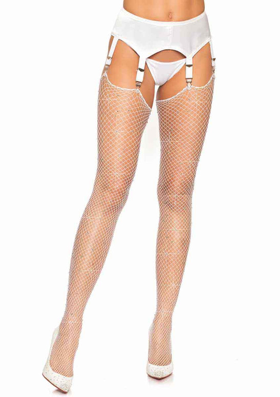 LA-9124, Rhinestone White Fishnet Stockings by Leg Avenue