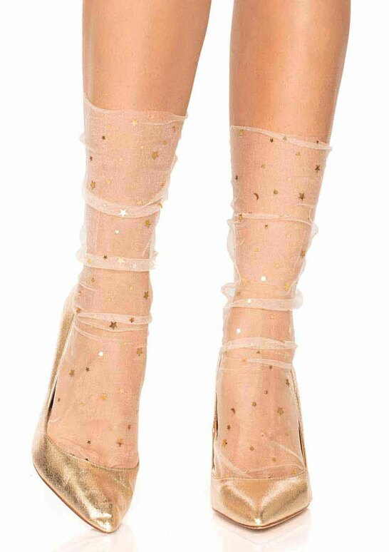 Leg Avenue | LA-3047, Stars and Moon Cream Sheer Anklet Socks