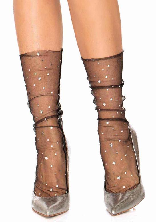 LA-3047, Stars and Moon Black Sheer Anklet Socks by Leg Avenue