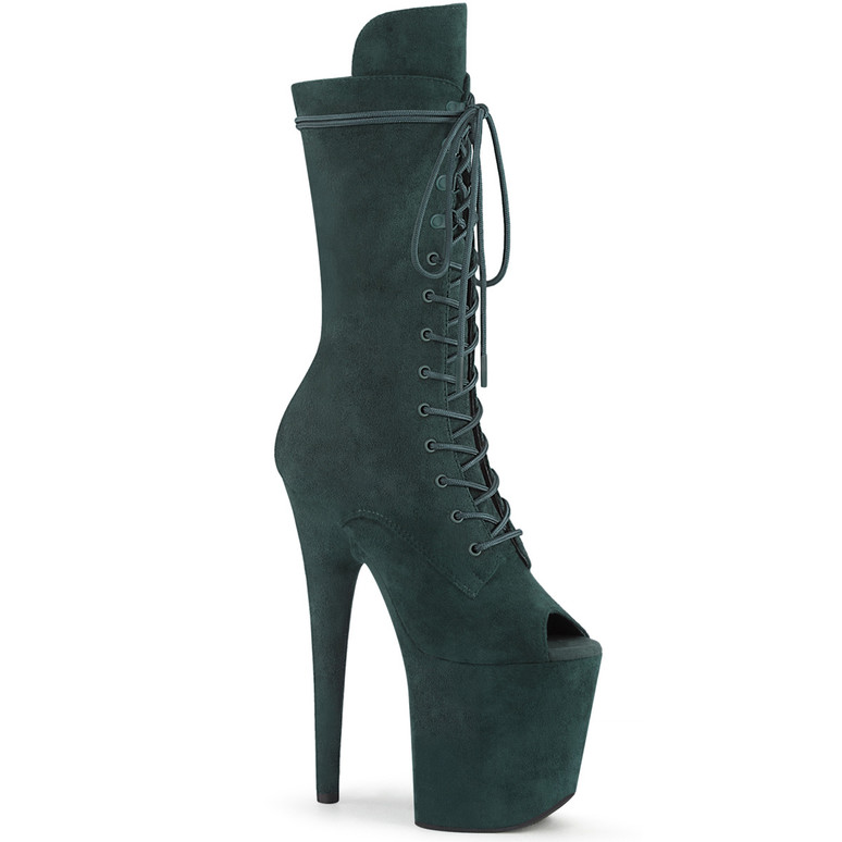 Flamingo-1051FS, Green Suede Peep Toe Lace Up Boots by Pleaser