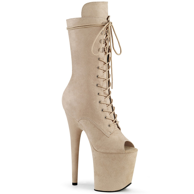 Pleaser | Flamingo-1051FS, Beige Suede Peep Toe Lace Up Boots
