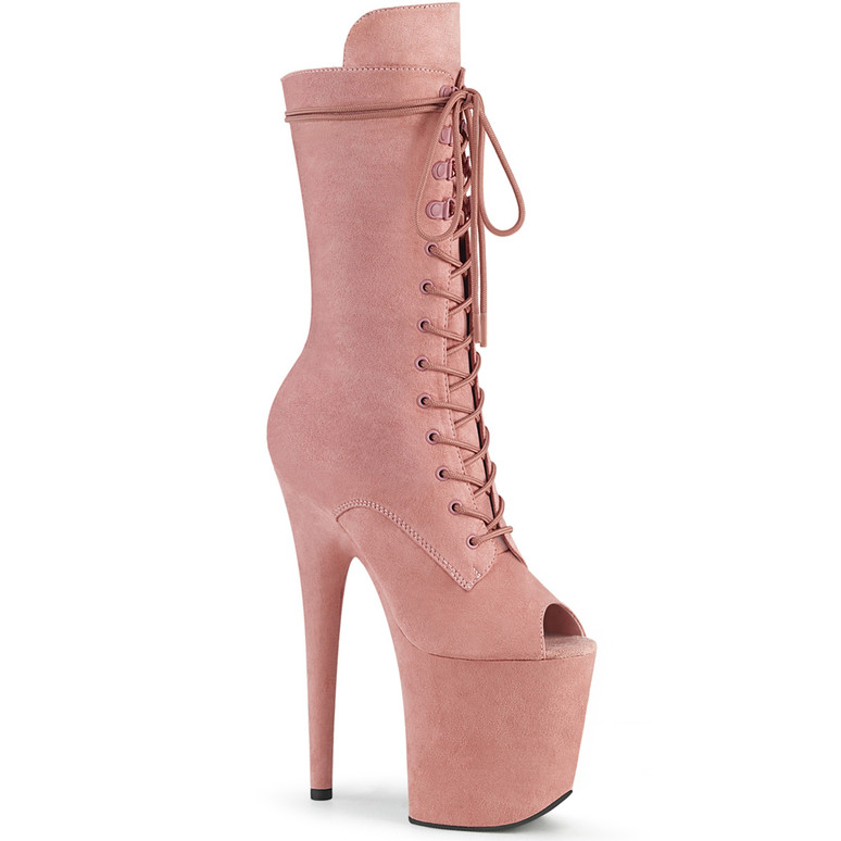 Flamingo-1051FS, Baby Pink Suede Peep Toe Lace Up Boots by Pleaser