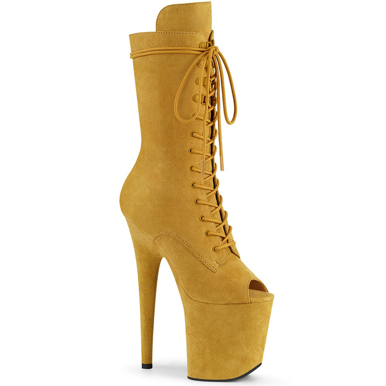 Pleaser | Flamingo-1051FS, Mustard Suede Peep Toe Lace Up Boots