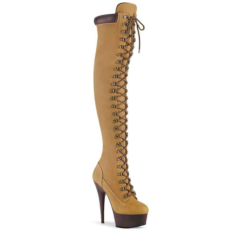 Delight-3000TL, Laceup Over-The-Knee Boots by Pleaser