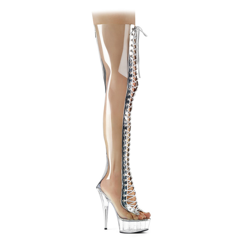 Delight-3026, Clear Thigh High Boots by Pleaser