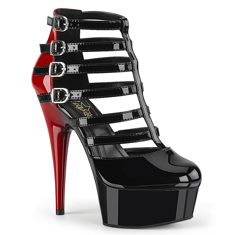 Delight-695, Two Tone Cage Style Strappy Bootie by Pleaser