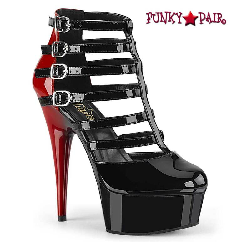 Pleaser   Delight-695, Two Tone Cage Style Strappy Bootie