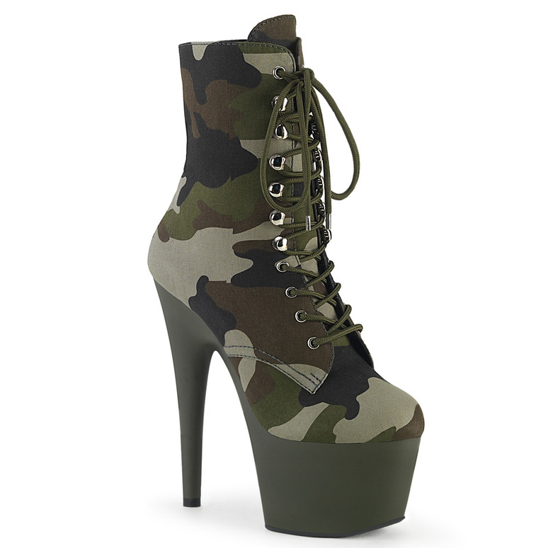 Adore-1020CAMO, Camo Lace-up Ankle Boots by Pleaser