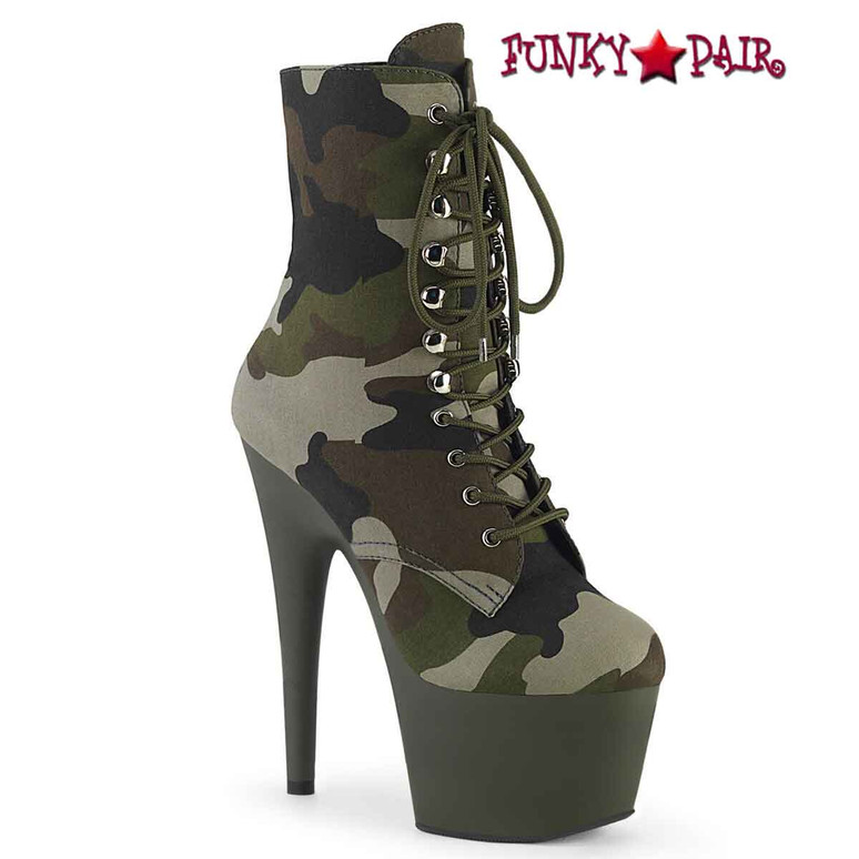 Pleaser | Adore-1020CAMO, Camo Lace-up Ankle Boots