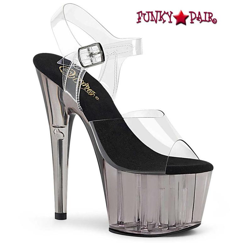 Pleaser | Adore-708T, Black Tinted Platform Sandal