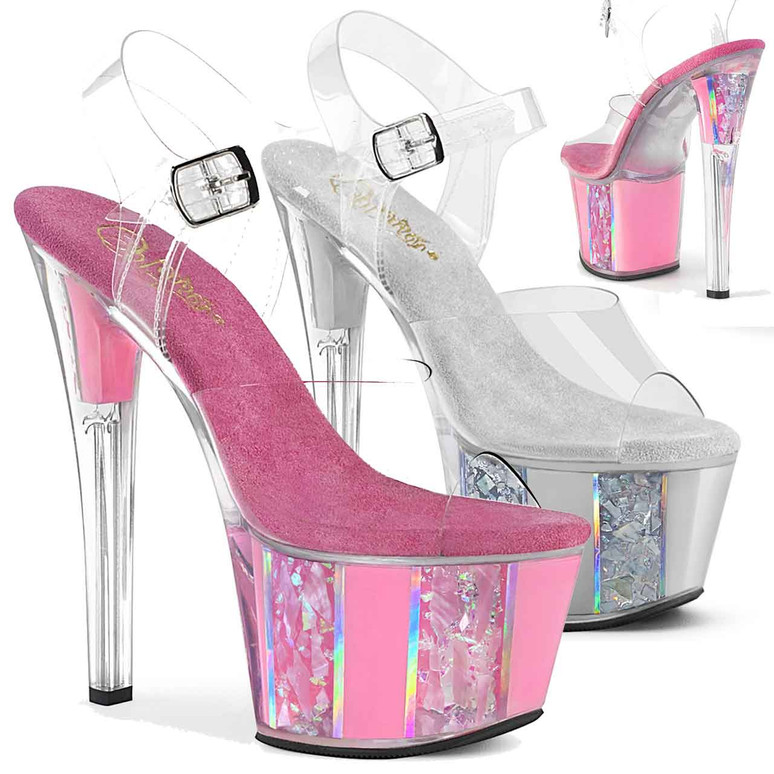 Sky-308OF, Ankle Strap Sandal with Opal Ornaments on Platform by Pleaser