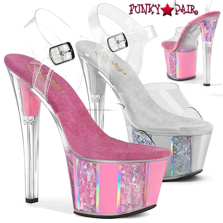 Pleaser | Sky-308OF, Ankle Strap Sandal with Opal Ornaments on Platform