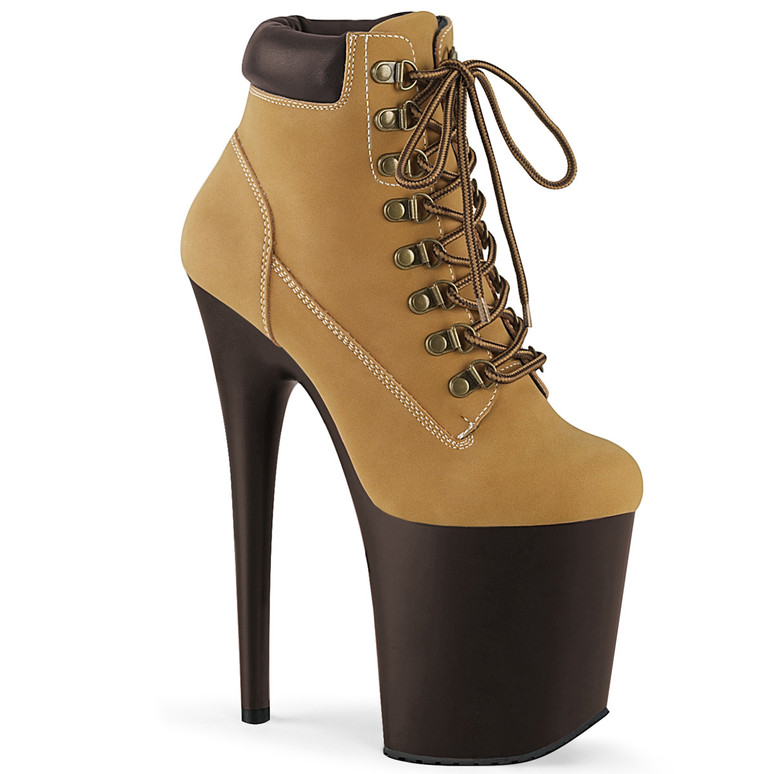 Pleaser | Flamingo-800TL-02, Lace-up Tan Ankle Booties