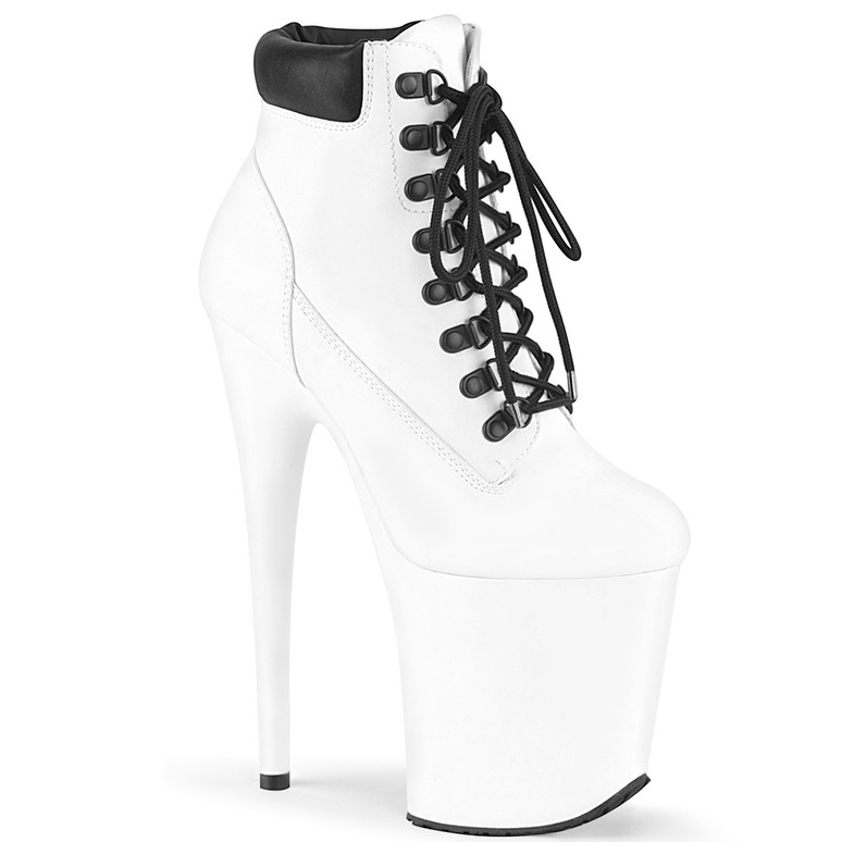 Flamingo-800TL-02, White Lace-up Ankle Booties by Pleaser