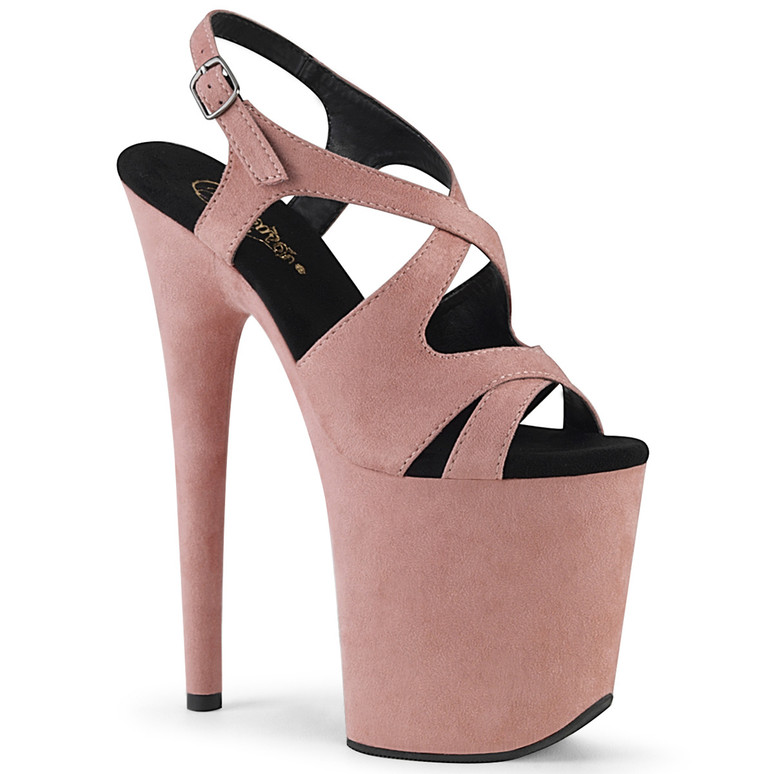 Flamingo-831FS, Baby Pink Criss Cross Slingback Sandal by Pleaser