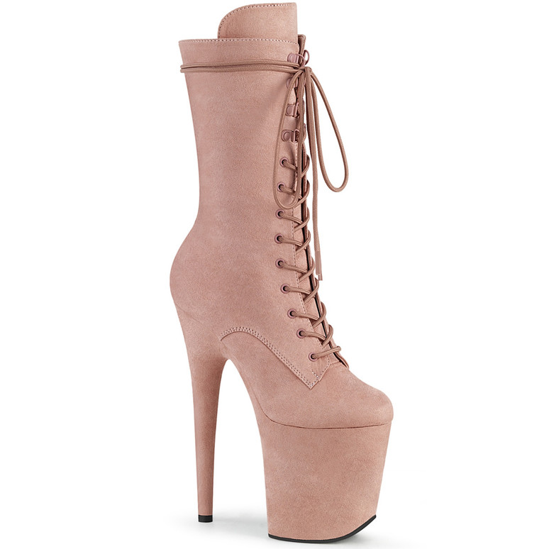 Flamingo-1050FS, Mid-Calf Blush Suede Boots by Pleaser