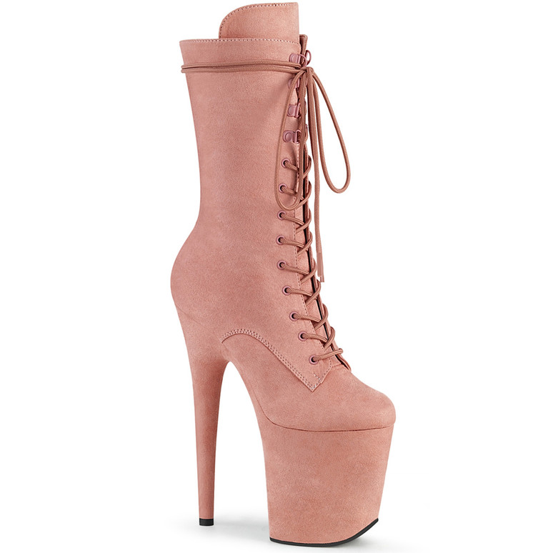 Pleaser | Flamingo-1050FS, Baby Pink Mid-Calf  Suede Boots