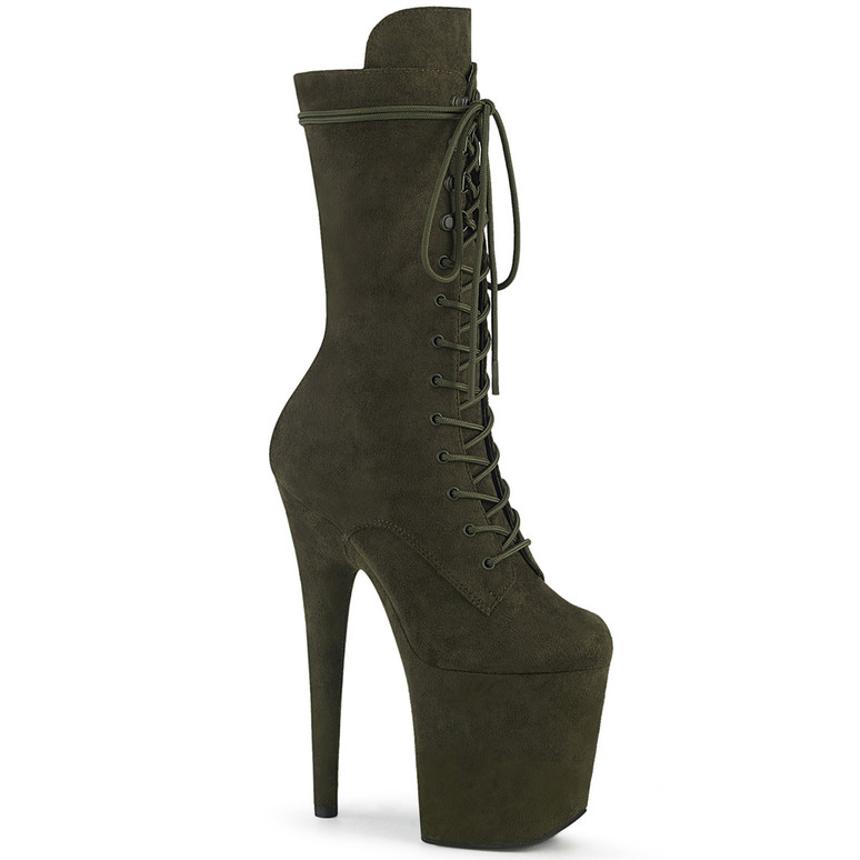 Flamingo-1050FS, Mid-Calf Emerald Green Suede Boots by Pleaser