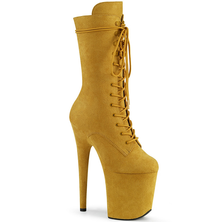 Flamingo-1050FS, Mid-Calf Mustard Suede Boots by Pleaser