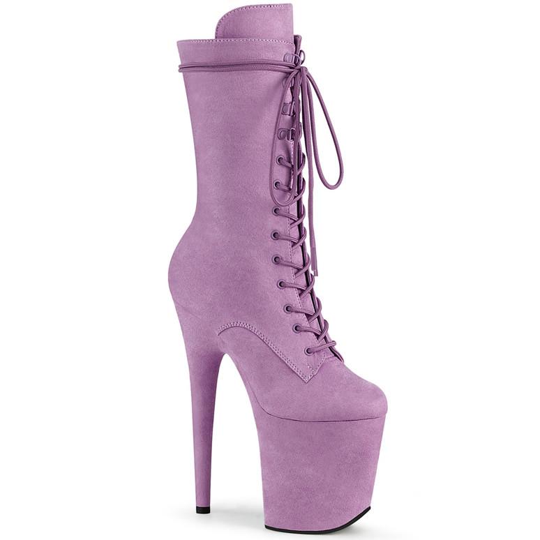 Pleaser | Flamingo-1050FS, Mid-Calf Purple Suede Boots