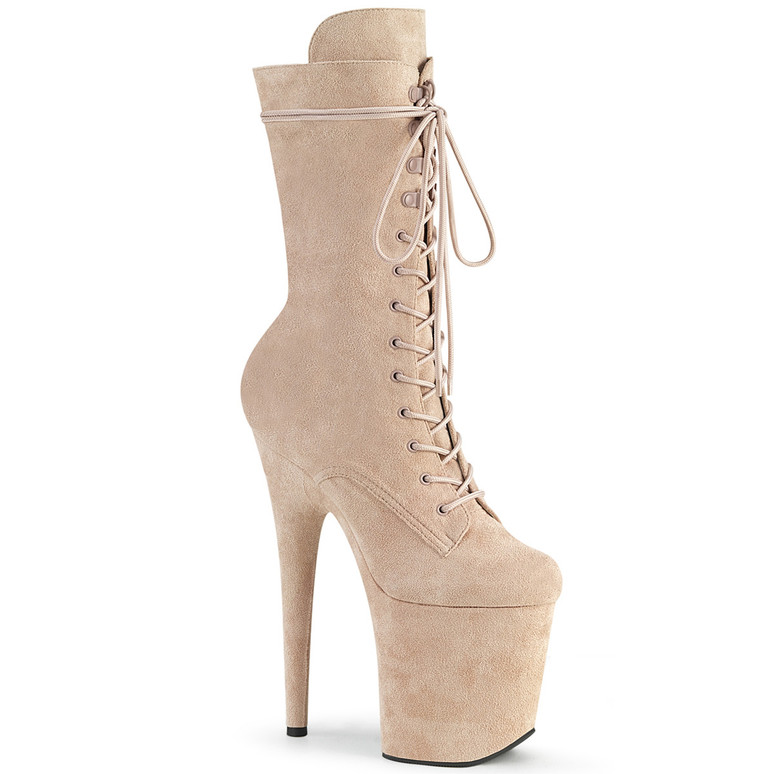 Flamingo-1050FS, Mid-Calf Nude Suede Boots by Pleaser