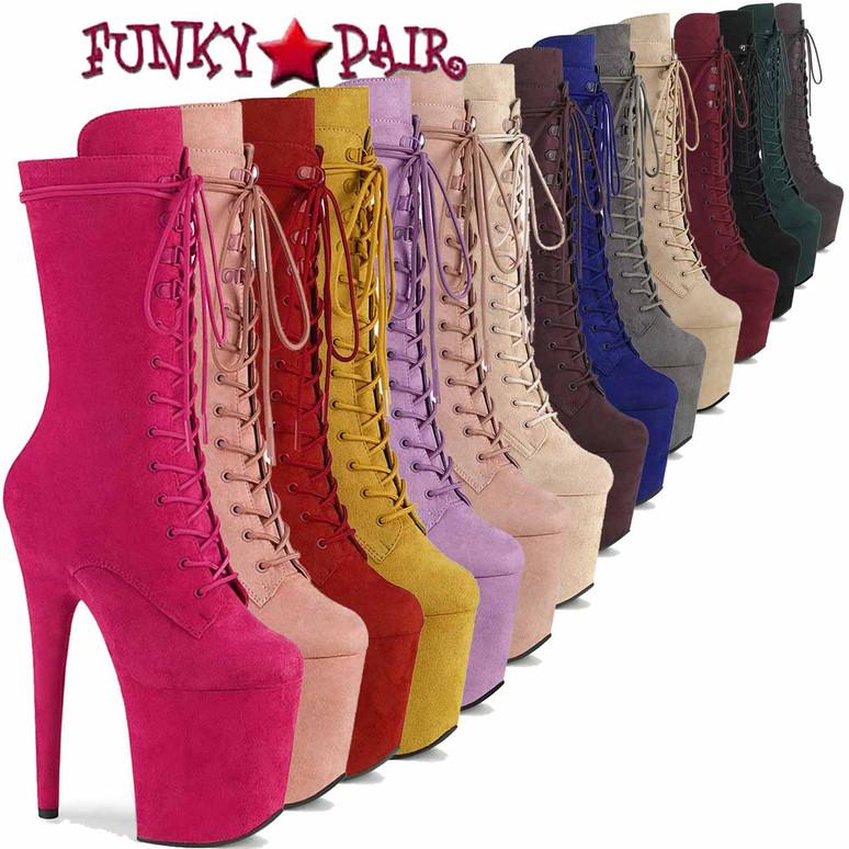 Pleaser | Flamingo-1050FS, Mid-Calf Suede Boots