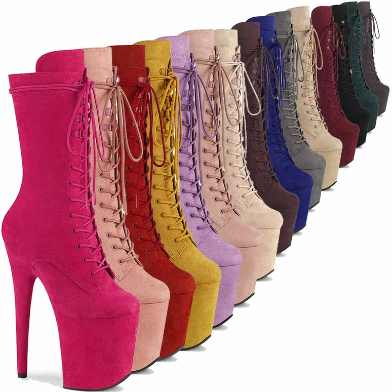 Flamingo-1050FS Mid-Calf Suede Boots by Pleaser