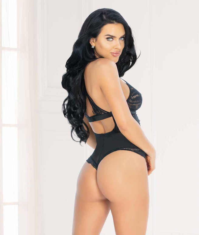Seven Til Midnight STM-11063, Black Lace and Mesh Teddy back view
