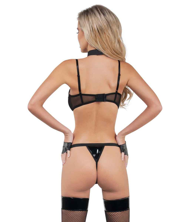 SL9032 Wet Look Bra and Thong Set back view