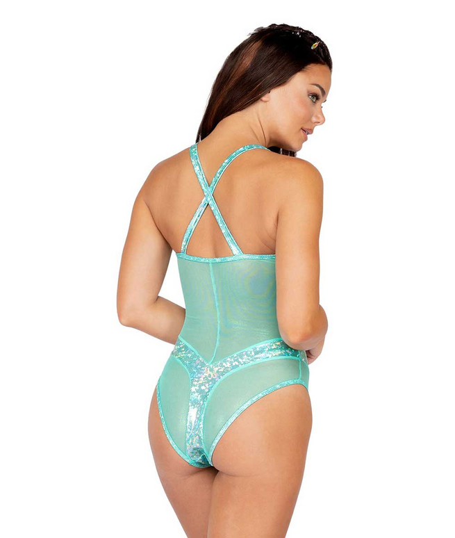 Roma R-3838, IRIDESCENT AND SHEER ROMPER back view